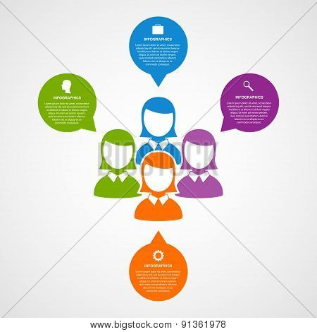 Vector Infographic Template Business Silhouette People.