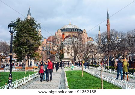 Hagia Sophia park in Istanbul, Turkey