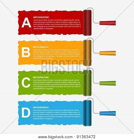 Roller Brush Infographics Options Banner. Design Template. Vector Illustration.