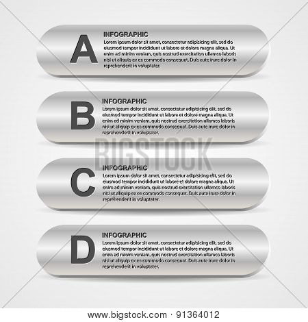 Abstract Metal Business Options Infographics. Vector Illustration.