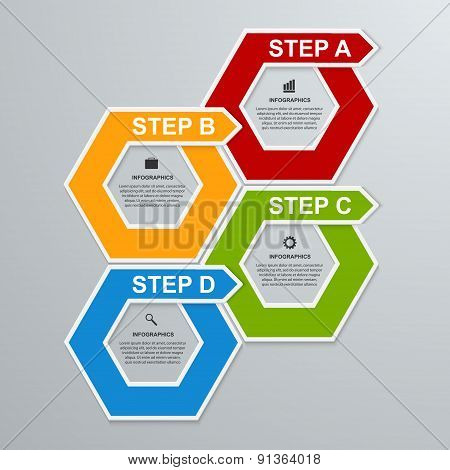 Abstract 3D Hexagon Business Options Infographics Template.