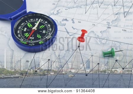 Compass On World Map And City, Success Global Concept, Elements Of This Image Furnished By Nasa