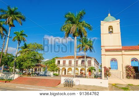 Main street of Cuban Vinales with church, Cuba
