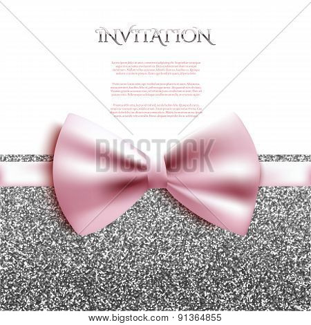 Invitation Decorative Card Template With Bow And Silver Shiny Glitter