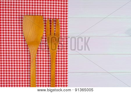 Kitchenware On Red Gingham Towel