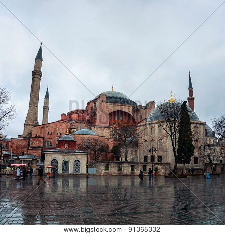Hagia Sophia at rainy day in Istanbul, Turkey