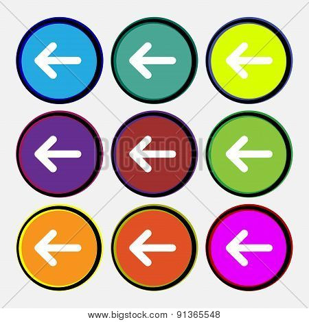 Arrow Left, Way Out  Icon Sign. Nine Multi-colored Round Buttons. Vector