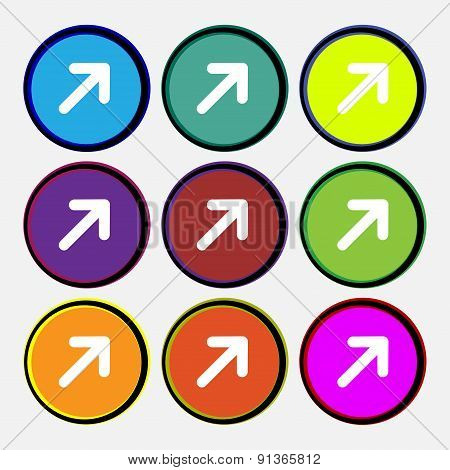 Arrow Expand Full Screen Scale  Icon Sign. Nine Multi-colored Round Buttons. Vector