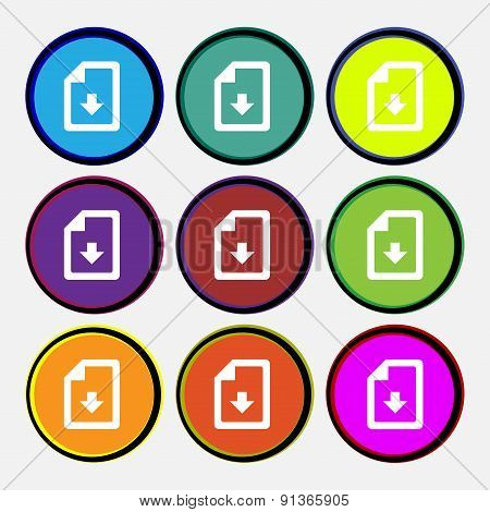 Import, Download File  Icon Sign. Nine Multi-colored Round Buttons. Vector