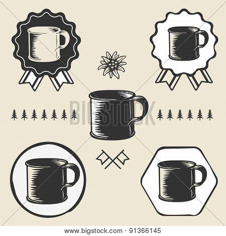 vintage steel enamel cup outdoor symbol emblem label