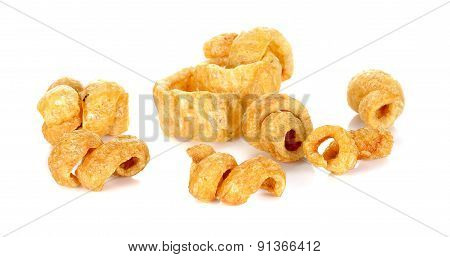 Pork Rind Favorite Food In Thailand (lanna) Isolated On White