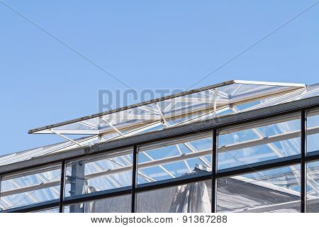 Open Glass Ventilation Windows On A Conservatory Roof