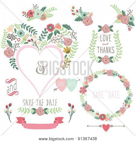 Floral Heart Shape Invitation