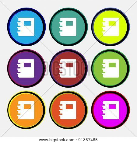 Nightstand  Icon Sign. Nine Multi-colored Round Buttons. Vector