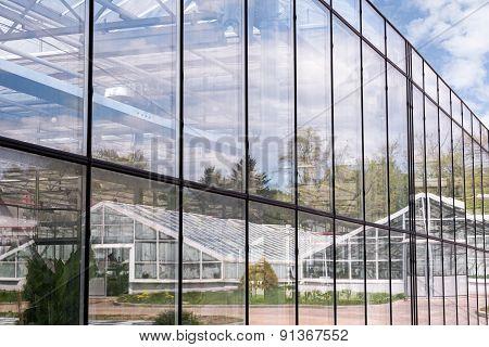 Glass Facade Of Greeenhouse