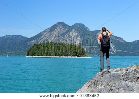 Hiker Looks To The Island