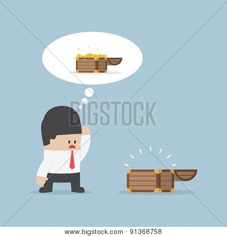 Businessman And Empty Treasure Box