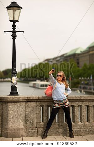 Girl As A Tourist To The City Tour In Hamburg