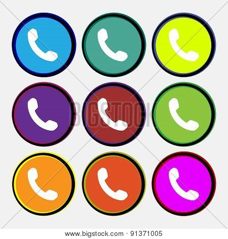 Phone, Support, Call Center  Icon Sign. Nine Multi-colored Round Buttons. Vector