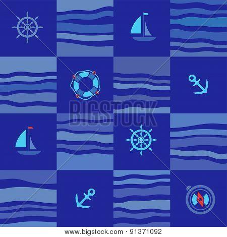 Seamless marine pattern, blue squares.