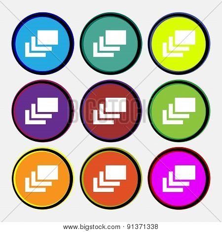 Layers  Icon Sign. Nine Multi-colored Round Buttons. Vector