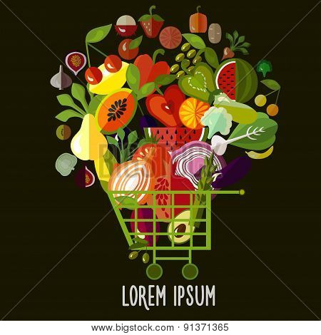 Organic food concept. Food basket with fruits and vegetables.