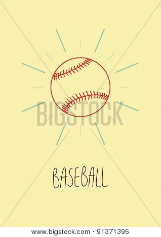 Baseball vintage style poster. Retro vector illustration.
