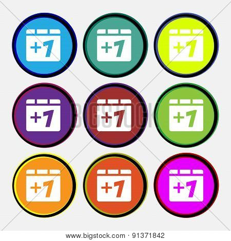 Plus One, Add One  Icon Sign. Nine Multi-colored Round Buttons. Vector