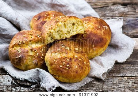 Buns With Bran And A Linen Seed. Healthy Food.