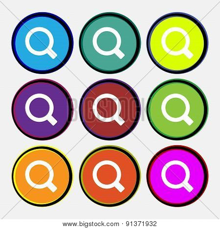 Magnifier Glass  Icon Sign. Nine Multi-colored Round Buttons. Vector