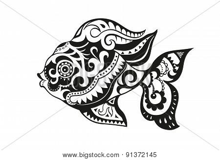 Fish With Ornaments In The Ethnic Style