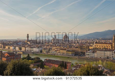 View Of Florence At Sunset From Piazzale Michelangelo In Florence, Italy