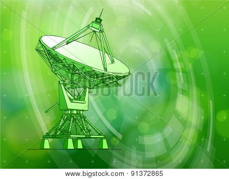 Ecology technology concept - large astronomical Doppler radar, radial HUD elements & green bokeh abstract light background / vector illustration / eps10