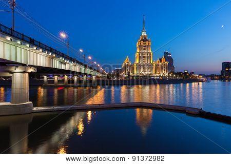 Hotel Ukraina at dusk, Moscow