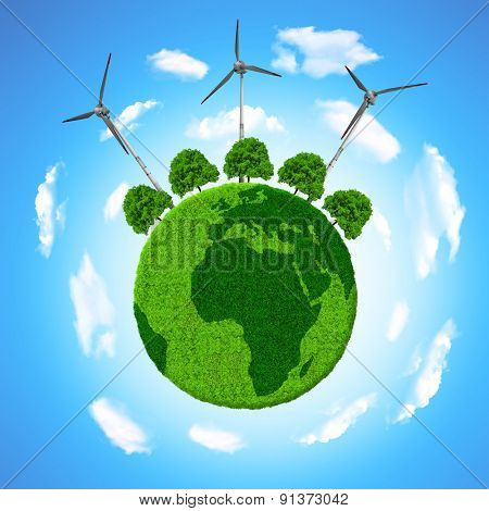 Green planet with trees and wind turbines