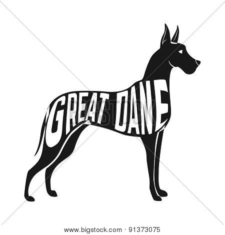Concept silhouette of Great Dane with text inside isolated black on white background.