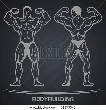 Bodybuilder in two positions on a dark background.