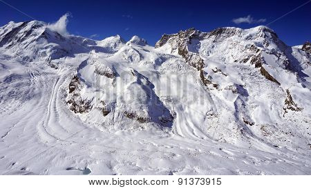 Snow Alps Mountains And Blue Sky Cloud