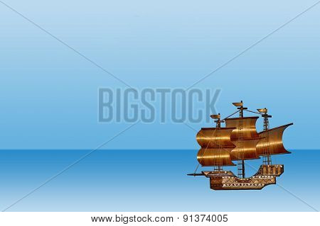 Sea postcard sailboat