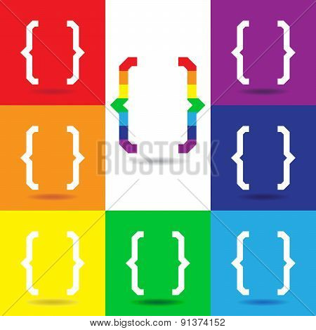 Curly Bracket Icon Set, Colorful Vector Logo