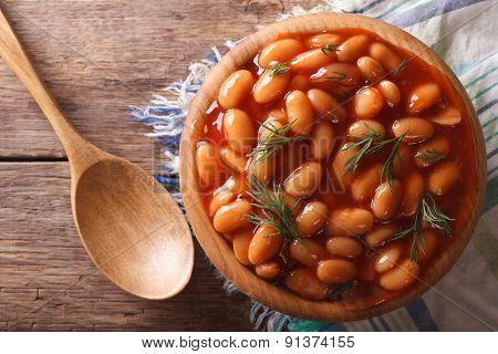 White Beans In Tomato Sauce Horizontal Top View