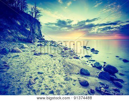Vintage Photo Of Beautiful Rocky Sea Shore At Sunrise