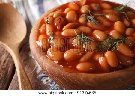 Beans In Tomato Sauce In A Wooden Bowl, Horizontal