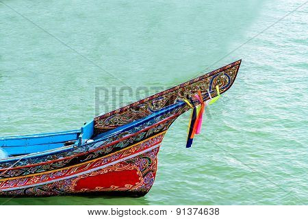 Long-tailed Boat At The Beach And Blue Sky In Thailand