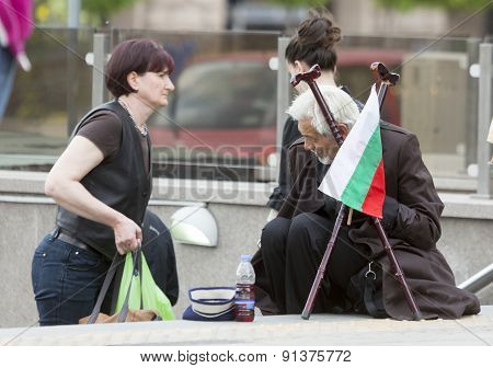 Homeless Beggar Bulgarian Flag