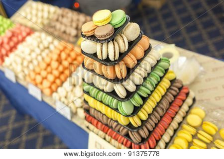 Colorful Sweet Candies Pastry Pyramid Macarons