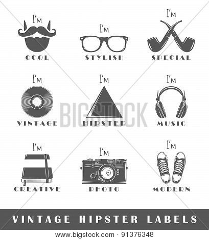 Set Of Vintage Hipster Labels