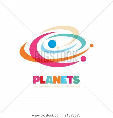 Planets - vector logo concept illustration.