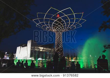 Tree Of Life In The Evening At Expo 2015 In Milan, Italy