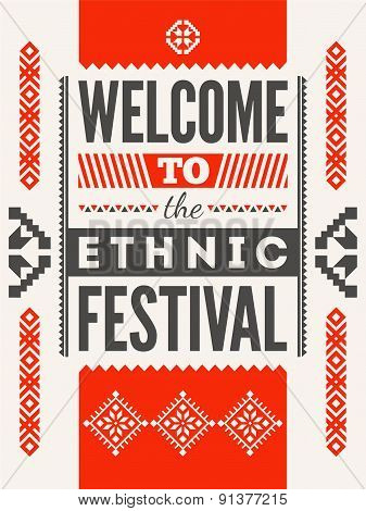 Ethnic festival poster. Typographical design with folk pattern ornament. Vector illustration.